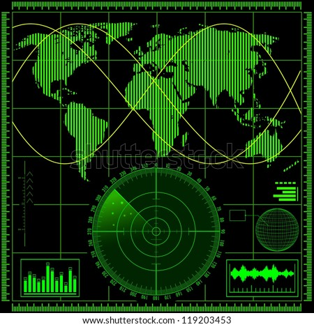 Radar screen with world map. Raster illustration.