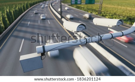 Radar speed control camera on the highway. Speed camera monitoring busy traffic road. The cameras speed control on the road. 3d illustration
