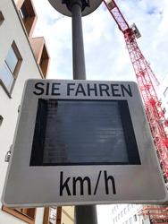 Radar speed sign showing kilometres per hour