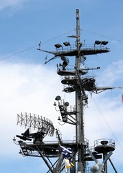 Radar system of the USS Midway in San Diego