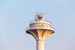 Radar tower or radio lighthouse controlling marine traffic in Bosphorus Strait in Istanbul, Turkey