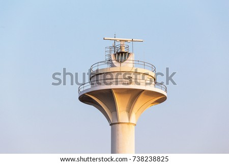 Radar tower or radio lighthouse controlling marine traffic in Bosphorus Strait in Istanbul, Turkey #738238825