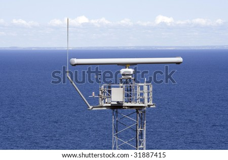 Radar with the blue ocean in the background