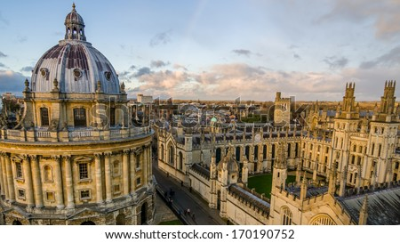 Radcliffe Camera and All Souls College at the university of Oxford. Oxford, England