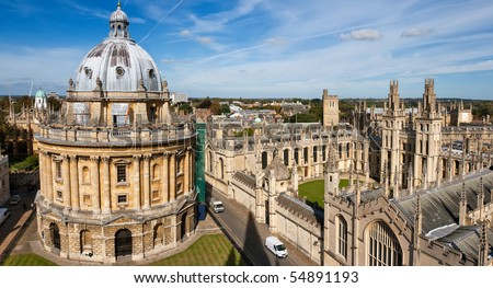 Radcliffe Camera and All Souls College, Oxford University. Oxford, UK. Scaffolding visible.