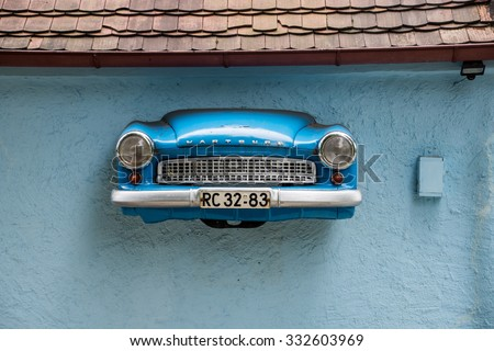 RADEBERG, GERMANY - July 18 2015: car breaks through the wall