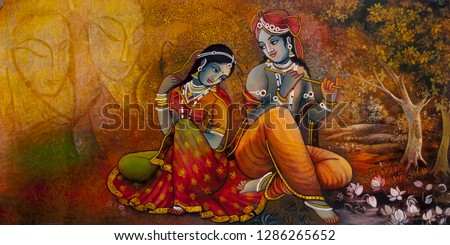 Radha Krishna Hindu Religious in gold background canvas texture oil painting