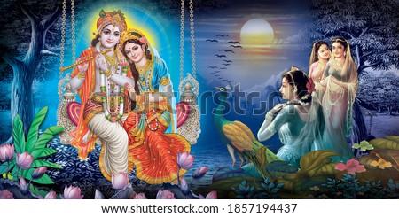 Radha Krishna, Lord Krishna, Radha Krishna Painting with colorful background Stock photo ©