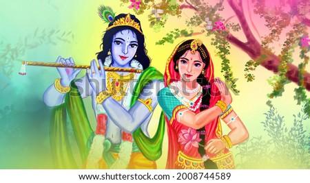 Radha Krishna Painting with colorful background, Lord Krishna, Stock photo ©