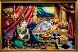 Radha Krishna wall mural painting for home decor