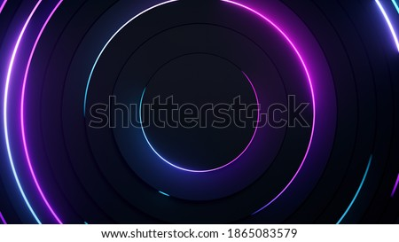 Radial abstract neon background. Laser neon lines move in a circle along a circular dark geometry. Conceptual technology background. Blue purple light spectrum. 3d illustration