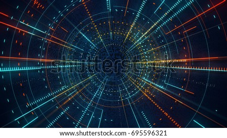 Radial lines techno pattern. Computer generated abstract background