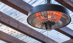 Radiant heater on the ceiling of a terrace roofing