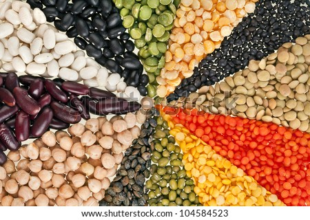 radiate, rays of different beans, legumes, peas, lentils