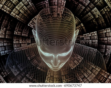 Radiating Mind series. 3D rendering of human head and fractal pattern on the subject of human mind, artificial intelligence and virtual reality