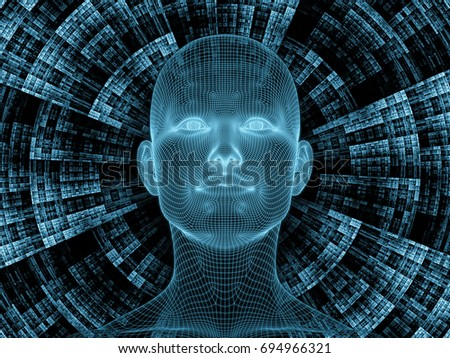 Radiating Mind series. 3D rendering of wire-mesh model of human head and fractal pattern on the subject of human mind, artificial intelligence and virtual reality