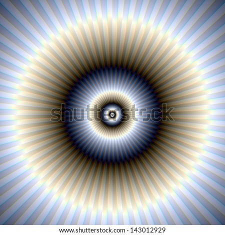 Radiating Rings in Blue and Beige / Digital abstract fractal image with radiating circles in blue and beige.