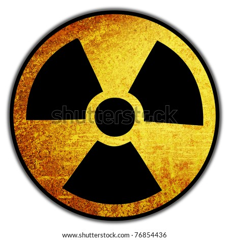 Radiation nuke sign with grunge retro vintage rusty old paper background
