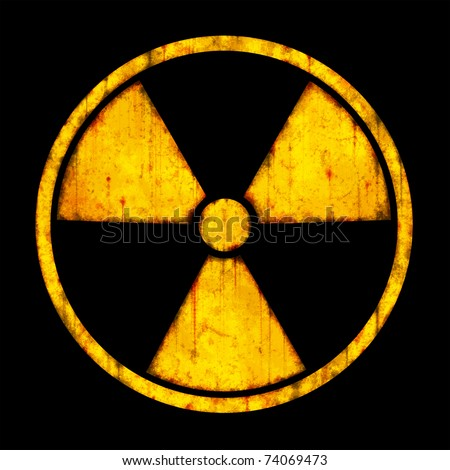 Radiation ����� round sign with blots and stains on black background