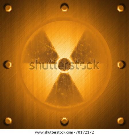 Radiation sign on metal surface effect background in orange tones