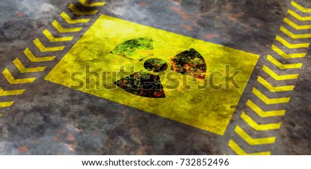 Radiation symbol on yellow background, view from above. 3d illustration