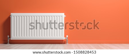 Radiator, room interior, orange color wall, wood floor, banner, copy space. Central heating installation, warm home. 3d illustration