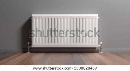 Radiator, room interior, wood floor, gray painted wall, Central heating installation, warm home. 3d illustration