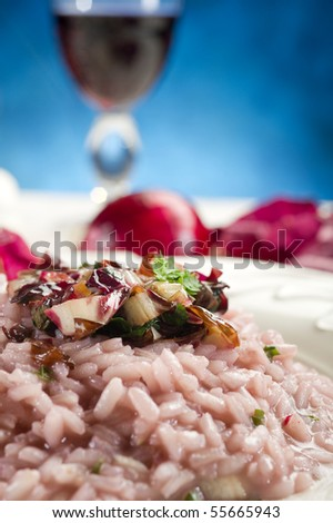 radicchio risotto on dish close up