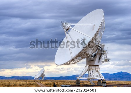Radio antenna dishes of the Very Large Array radio telescope in New Mexico.