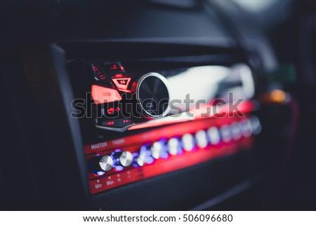 radio button in car panel.selective focus.