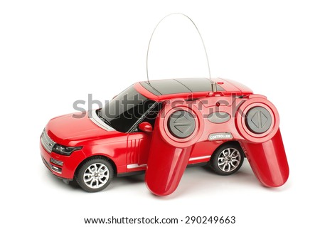 Radio controlled car with control joystick isolated on the white background Stock photo ©