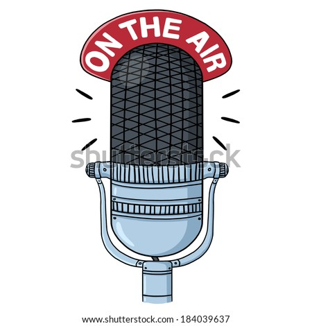 Radio microphone illustration; Vintage mic; on the air