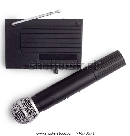 radio microphone wireless with the receiver station with antenna isolated on white background
