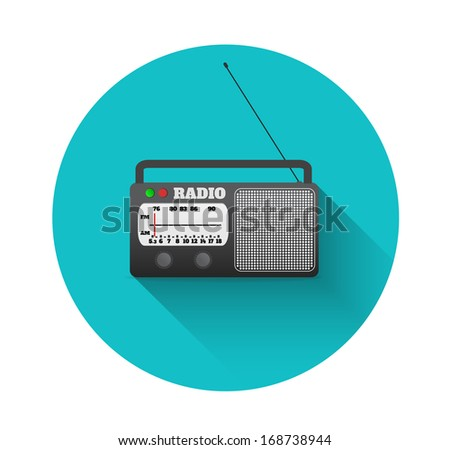 Radio on flat design with long shadow on white background. Raster copy
