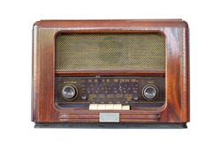 Radio retro isolated on white background with copy space and have clipping path in picture.