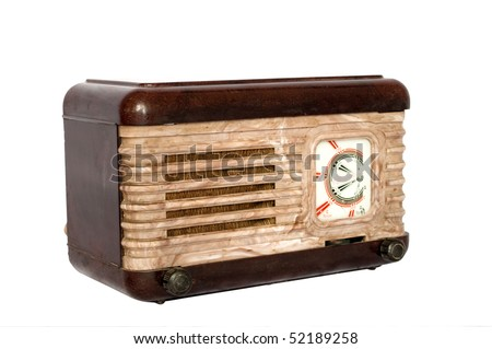 Radio retro on a white background - stock photo
