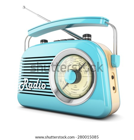 Radio retro portable receiver blue recorder vintage object isolated