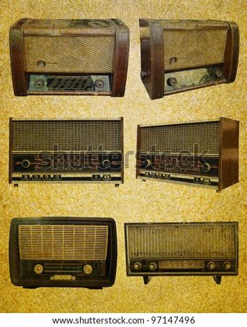 Radio retro set on  grunge paper background