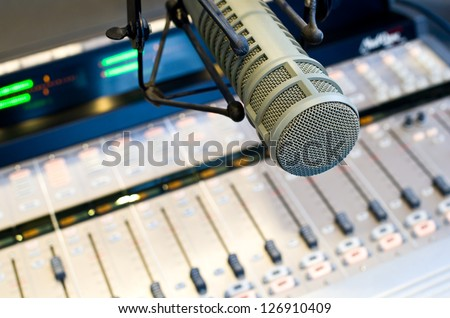 Radio Station Microphone and Mixer