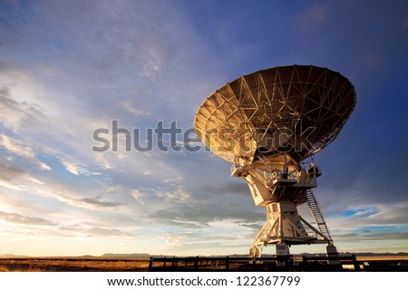 Radio telescope against dramatic sky at the National Radio Astronomy Observatory in Socorro, New Mexico