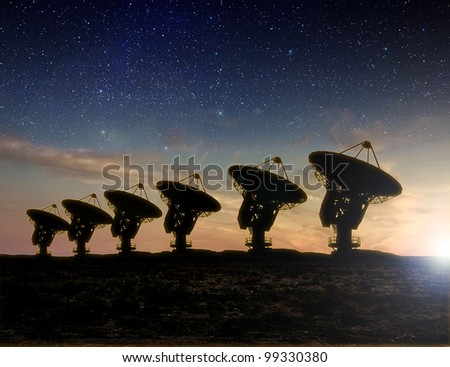 Radio Telescope at sunset