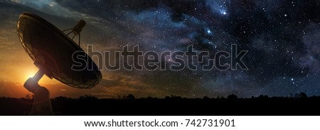 radio telescope at the dawn of a starry night, 3d illustration