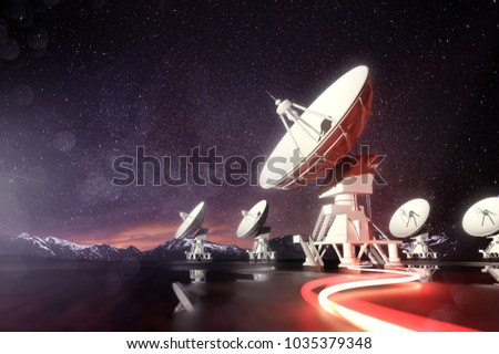 Radio telescopes searching for astronomical objects at night. 3D illustration.