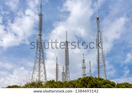 Radio television telecommunication masts and towers on Camlica hill. Istanbul - TURKEY  #1384693142