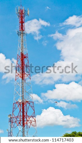 Radio tower  and the blue sky and clouds