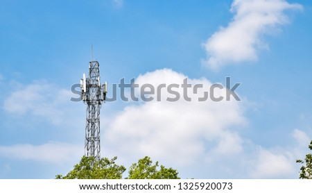 Radio tower have an antenna for broadcasting for radio signal, phone signal or television signal with wireless technology #1325920073