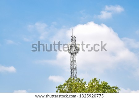 Radio tower have an antenna for broadcasting for radio signal, phone signal or television signal with wireless technology #1325920775