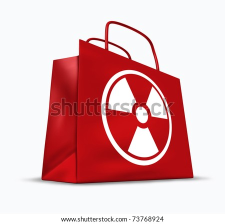 Radioactive and radiation contaminated goods and food groceries represented by a red shopping bag with a nuclear symbol.