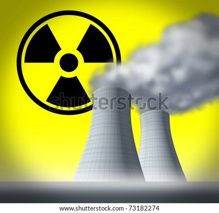 Radioactive and radiation symbol represented by nuclear cooling towers showing a fallout disaster after a system meltdown.