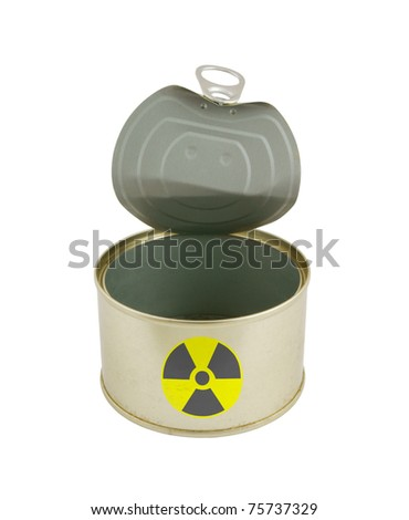 Radioactive fish can isolated on white - stock photo